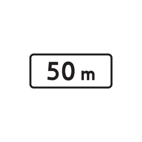 Tabliczka T21 Odległość pd miejsca w którym zakaz obowiązuje