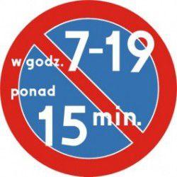 Znak B-35c Zakaz Postoju w Określonych Godzinach Trwającego Dłużej niż Czas Określony w Minutach