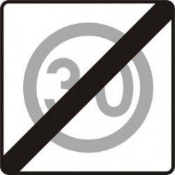 Znak B-44 Koniec Strefy Ograniczonej Prędkości