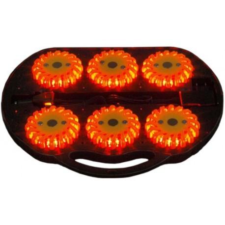 6 lamp ostrzegawczych w walizce Gabaryt Kogut Wypadek