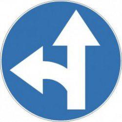 Znak C-7 Nakaz Jazdy Prosto lub w Lewo