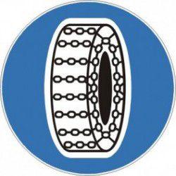 Znak C-18 Nakaz Używania Łańcuchów Przeciwpoślizgowych